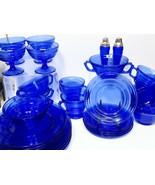 32 Pcs Vtg Hazel Atlas MODERNTONE Blue Glass Soups Cups Sherbets Plates ... - $170.28