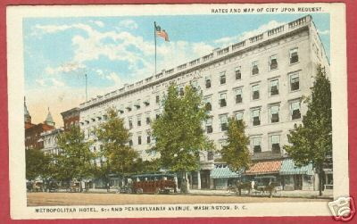 Primary image for Washington DC Metropolitan Hotel 6th Pa Postcard BJs