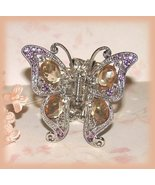 Victorian Butterfly Hair Clamp Pink-Amber Crystals Ornate Silvertone New - $24.99