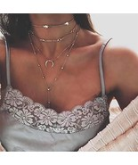 LittleB Layered Necklaces Sun Pendant Chain Tassel Women Long Cords Chok... - $7.35