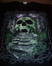 Gothic Green Gray Skull Castle T-Shirt Large New - $19.80