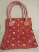 Longaberger BAG Pink Flowers PURSE Handbag Small Tote - $10.88