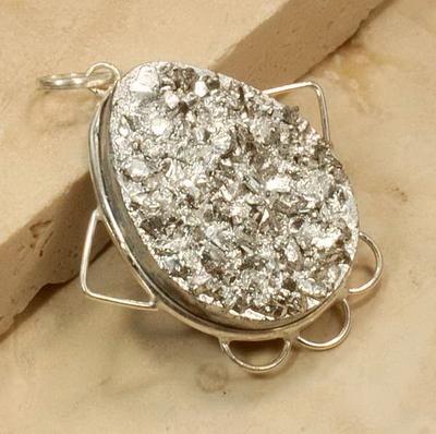 Pyrite druzy gemstone sterling silver pendant