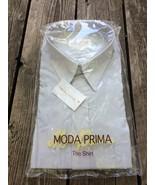 Moda Prima Dress Shirt Pale Gray 17 1/2 34 35 Cotton Polyester New Old S... - $9.00