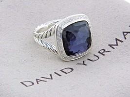 David Yurman Sterling Silver 14mm Black Orchid Diamond Albion Ring Size 8 - $642.51