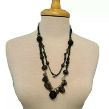 Black Necklace with Assort of Beads Wood Acrylic on Silver Tone Chain an... - $14.50