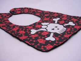 Reversible Baby Bib - Black Bib Red mini skulls w/ White large Girly Sku... - $12.99