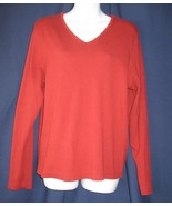 XL Chrisopher & Banks Rust V Neck Ribbed Knit Top - $5.00