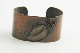 """7"""" VINTAGE Jewelry 1950's MID CENTURY MODERN COPPER CUFF EMBOSSED & DECO... - $15.00"""