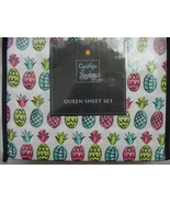Cynthia Rowley Aqua Lime Pink Pineapples Microfiber Sheet Set Queen - $66.00