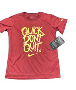Nike Graphic T Shirt Boys Sz 5 (Quick Don't Quit) Dryfit Technology Athletic Red - $10.68