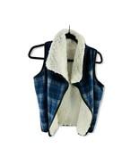 NWT $34.97 MELROSE AND MARKET Womens Blue White Faux Fur Reversible Plai... - $14.84