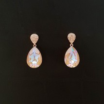 Water Drop Aurora Borealis Made With Swarovski Stone Dangle Earrings 925 Silver image 2