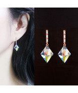 Rhombus Aurora Borealis  AB Made With Swarovski Crystal Dangle Earrings ... - $36.45