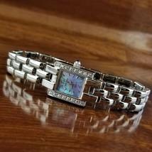 New Womens WALTHAM Polished Silver TN Swarovski Crystal Mother of Pearl Watch - $69.95