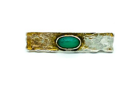 Antique Mission Art Crafts Sterling Silver Chalcedony Textured Bar Pin B... - $123.29