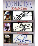 Troy Aikman Emmitt Smith Tony Romo Iconic Ink Triple Cut fasc auto 1/1000 - $5.99