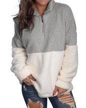 Women Fuzzy Fleece Long Sleeve Zip Up Pullover Sweatshirt - £24.35 GBP