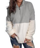 Women Fuzzy Fleece Long Sleeve Zip Up Pullover Sweatshirt - £24.42 GBP