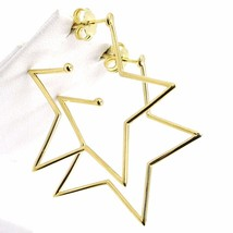 18K YELLOW GOLD PENDANT STAR EARRINGS, 1.4 INCHES LENGTH, MADE IN ITALY image 2