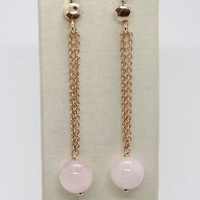EARRINGS SILVER 925 LAMINATED GOLD PINK HANGING WITH PINK QUARTZ