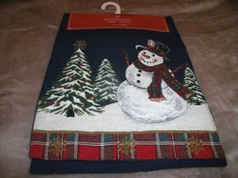 "NEW Forest SNOWMAN Tapestry TABLE RUNNER 13"" X 72""  Winter Blue W/ Plaid... - $19.75"