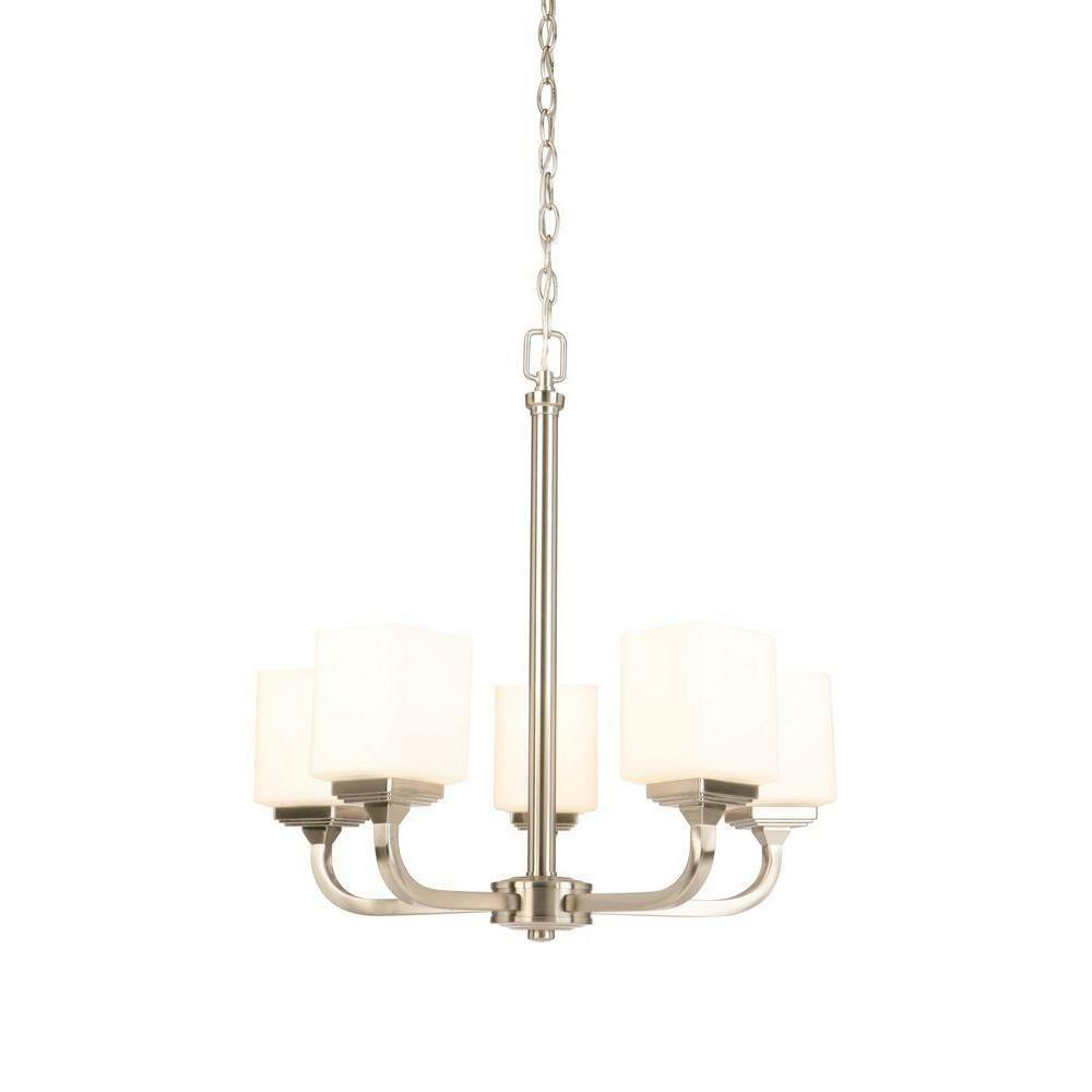 Primary image for Hampton Bay 5-Light Brushed Nickel Chandelier with Frosted Glass Shades