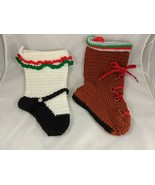 Crocheted Boot Shoe Shaped Christmas Stockings Lot - $28.89