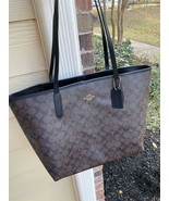NWT COACH CITY TOTE SIGNATURE LEATHER CANVAS BROWN/BLACK 5696  - $145.49