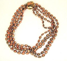 Vintage plastic multi strands light weight 5 strand Necklace Brown Mod P... - $8.90