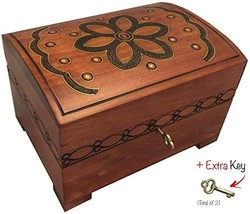 Wooden Chest Floral Decorative Box Handmade Jewelry Keepsake Chest Box w/Lock an - $39.89