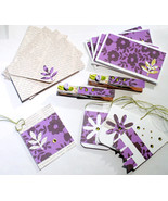 Note Cards W/Envelopes Purple Pattern Stationery Gift Tags Clothespin Cl... - $7.95