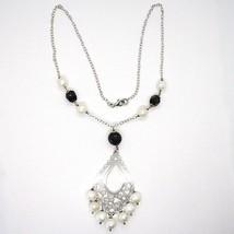 Halskette Silber 925, Onyx Schwarz, Perlen Weiß, Anhänger Floral image 2