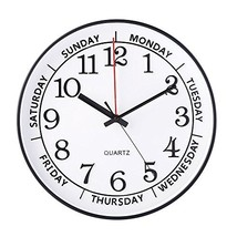 "jomparis 14"" Day of The Week Clock Large Decorative Battery Operated Rou... - $27.19"