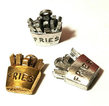 FRENCH FRIES FINE PEWTER PENDANT CHARM - 12mm L x 16mm W x 6mm D
