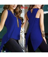 Open Back Irregular Top Shirts Female Yellow Blouse Blouse Ladies Sleeve... - $34.00