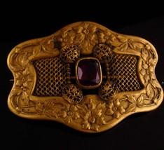 Antique Victorian brooch - purple  edwardian sash pin -  anniversary gif... - $175.00