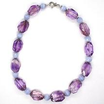 Halskette Silber 925, Fluorit Oval Facettiert Violet, Kugel Chalcedon image 2