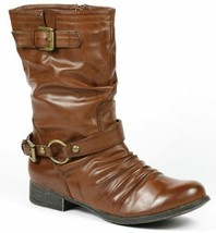 Whisky Brown Faux Leather Buckle Strap Zipper Riding Mid Calf Boot Wild Diva - $14.99