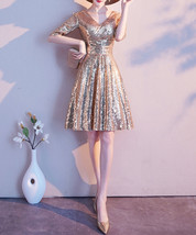 Knee Length Gold Sequin Dress Half Sleeve Sequin Gold Dress Wedding Guest Dress image 2