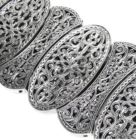 Gerochristo 6352- Sterling Silver Medieval-Byzantine Large Bracelet w Crosses