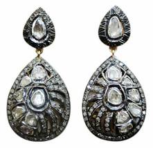 Traditional Antique Inspired 3.40Ctw Rose Cut Diamond 92.5% Polki Earrings - $499.25