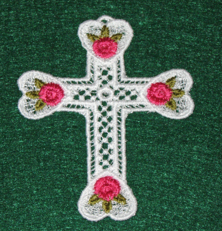 "Three white Lace crosses  two with flowers, one with metallic ""Love and a heart"