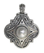 Gerochristo 3141 - Sterling Silver & Pearl Medieval-Byzantine Pendant  - $300.00