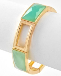 Faceted Mint Green Acrylic Gold Tone Stretch Bangle Bracelet