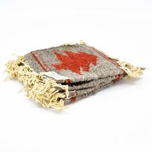 Handmade Zapotec Indian Weaving Hand-Woven Pine Tree Gray Wool Coaster Set of 4 image 3