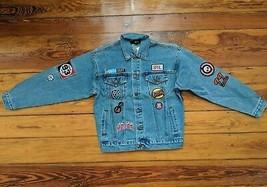 Graphic Patch Denim Jean Jacket women's size SMALL patches blue blazer - $39.98
