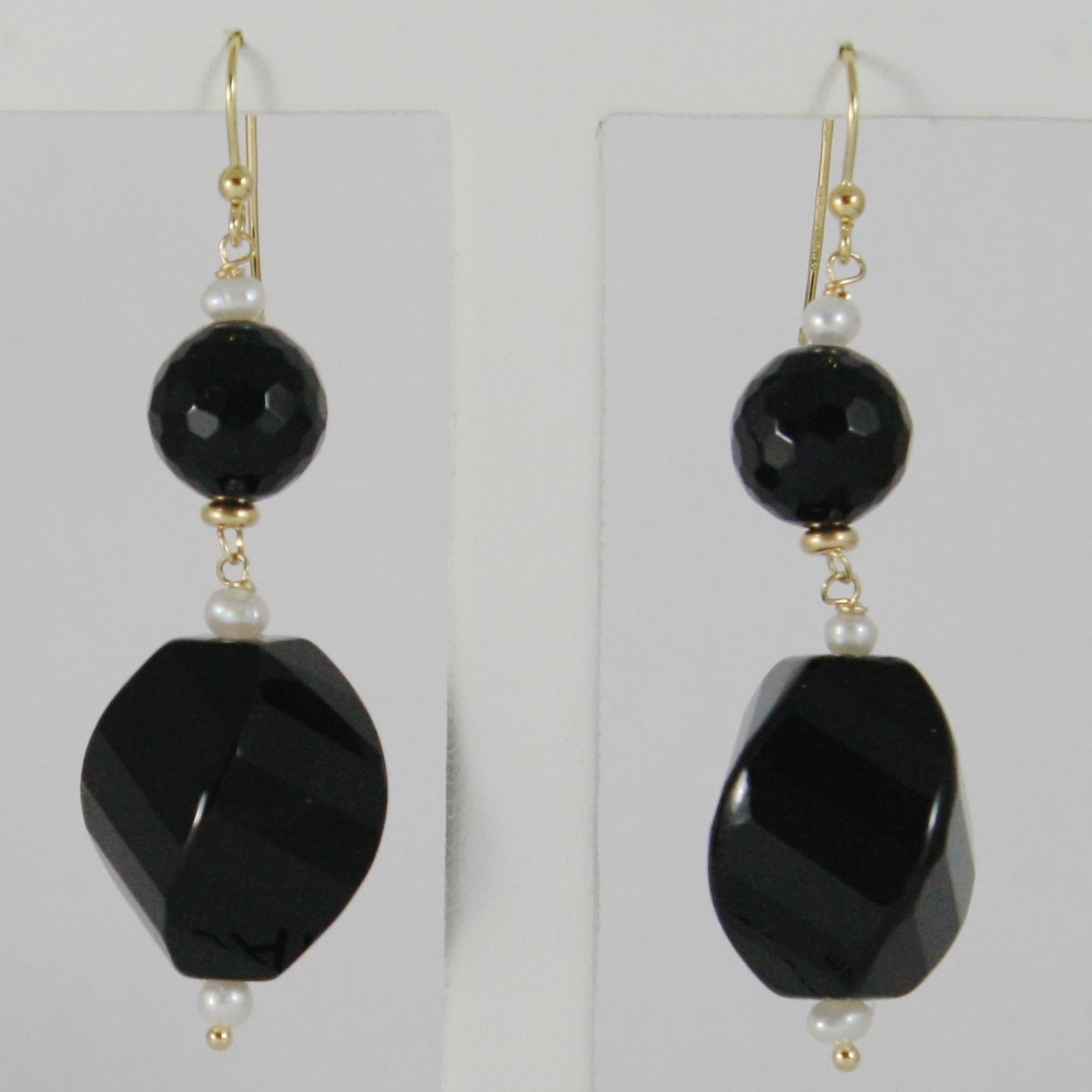 18K YELLOW GOLD PENDANT EARRINGS BIG TWISTED FACETED BLACK ONYX MADE IN ITALY