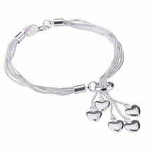 Women Girl Link Bracelet, 925 Sterling Silver Five-line Chain (8.3 Inches) - $12.15