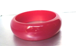 Vintage Lucite Raspberry Moonglow Bracelet Wide Chunky Bangle 1960's - $20.00